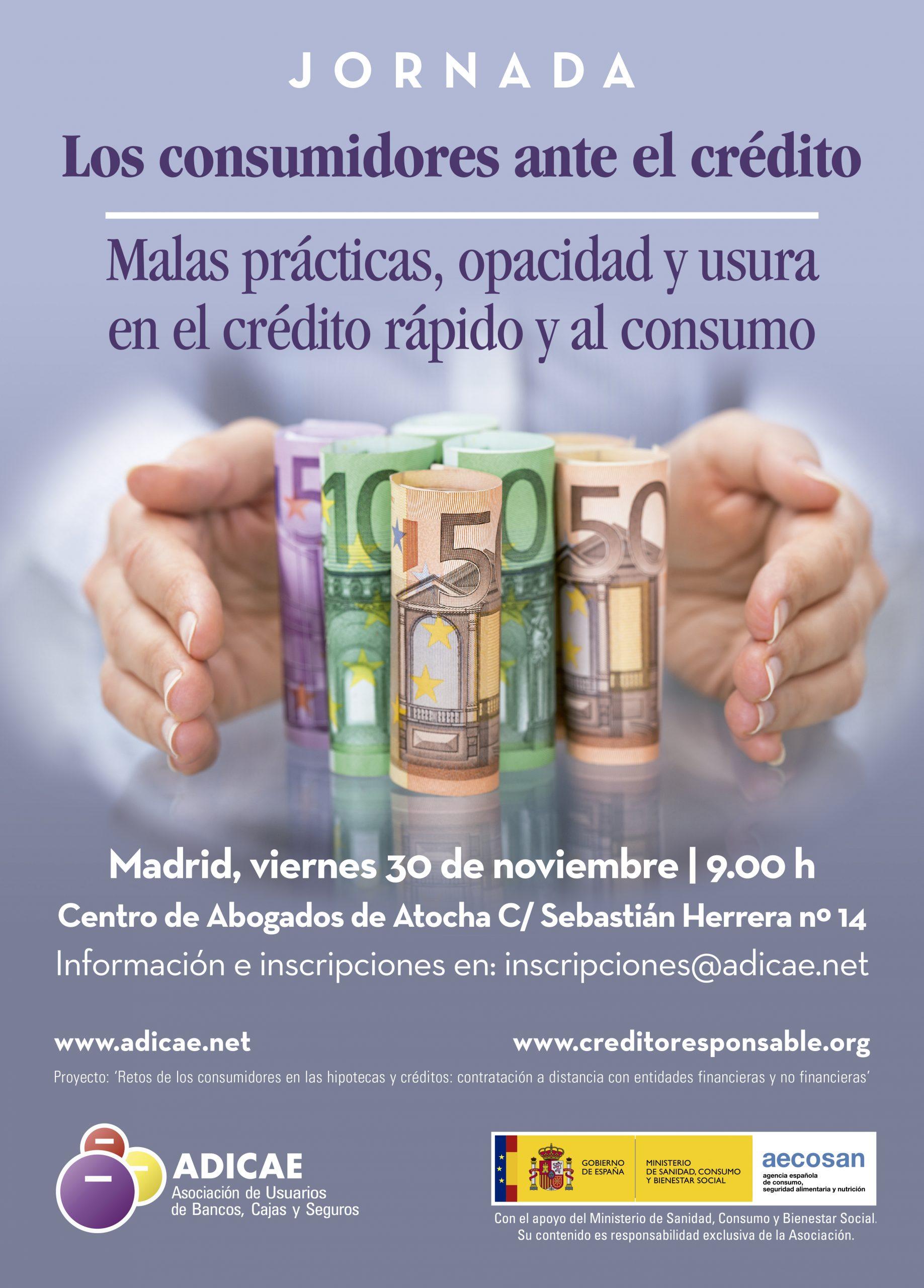 ADICAE analiza este viernes con expertos las prácticas abusivas y la usura en créditos al consumo